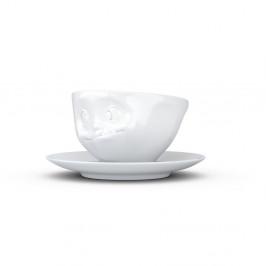 Biely maškrtný porcelánový hrnček s tanierikom 58products