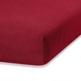 Tmavočervená elastická plachta s vysokým podielom bavlny AmeliaHome Ruby, 200 x 100-120 cm