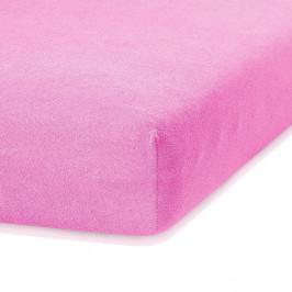 Ružová elastická plachta s vysokým podielom bavlny AmeliaHome Ruby, 200 x 80-90 cm