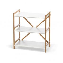 Trojposchodový regál v bielej farbe s bambusovou konštrukciou loomi.design Lora