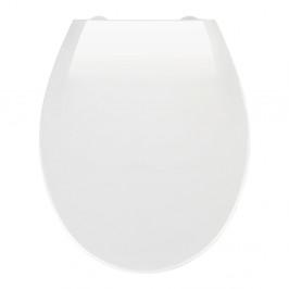 Biele WC sedadlo s jednoduchým zatváraním Wenko Kos, 44 × 37,5 cm