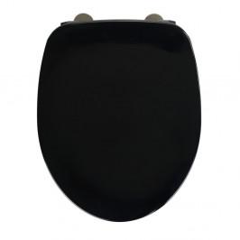 Čierne WC sedadlo s jednoduchým zatváraním Wenko Armonia, 44,5 x 37 cm