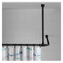 Čierna stropná opora pre sprchový záves Wenko, 57 cm