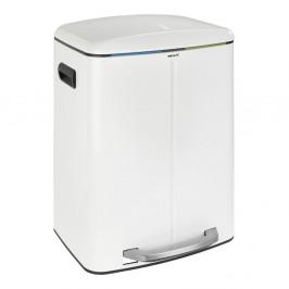 Dvojitý biely pedálový odpadkový kôš Wenko, 2×20 l