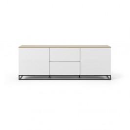 Biely televízny stolík s doskou z dubového dreva a čiernymi nohami TemaHome Join, 180 × 65 cm