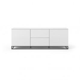Biely televízny stolík s čiernymi nohami TemaHome Join, 180 × 65 cm