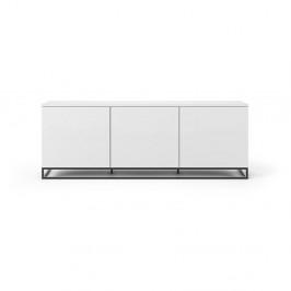 Biely televízny stolík s čiernymi kovovými nohami TemaHome Join, 180 × 65 cm