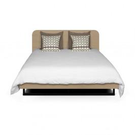Svetlohnedá posteľ s čiernymi nohami z ocele TemaHome Mara, 160 × 200 cm