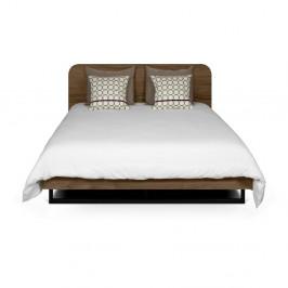Tmavohnedá posteľ s čiernymi nohami TemaHome Mara, 180 × 200 cm