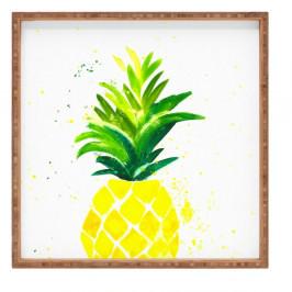 Drevený dekoratívny servírovací podnos Ananas, 40×40 cm