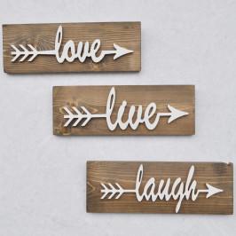 Sada 3 drevených nástenných dekorácií White Love