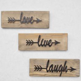 Sada 3 drevených nástenných dekorácií Black Love