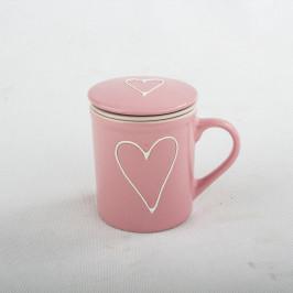 Ružový keramický hrnček so sitkom a pokrievkou Dakls, 290 ml