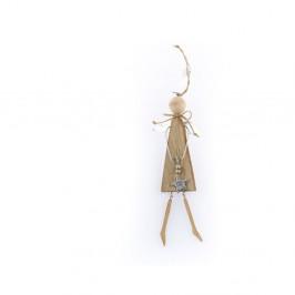 Drevená závesná dekorácia v tvare anjela Dakls Angelo
