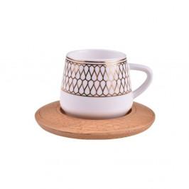 Sada 6 porcelánových hrnčekov s bambusovými podložkami Bambum Hattat