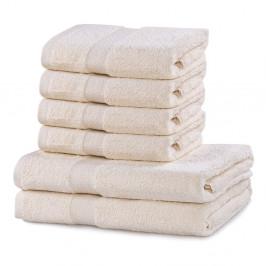 Set 2 bavlnených sivo-béžových osušiek a 4 uterákov DecoKing Marina