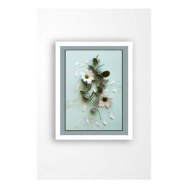 Nástenný obraz na plátne v bielom ráme Tablo Center Blue Garden, 29 × 24 cm