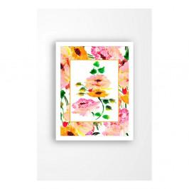 Nástenný obraz na plátne v bielom ráme Tablo Center Orange Flowers, 29 × 24 cm