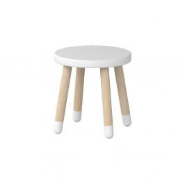 Biela detská stolička Flexa Dots, ø 30 cm