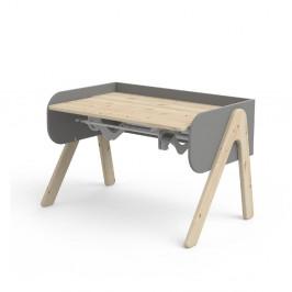 Sivo-hnedý písací stôl z borovicového dreva s nastaviteľnou výškou Flexa Woody
