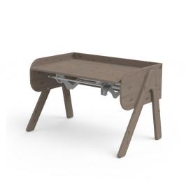 Tmavohnedý písací stôl z borovicového dreva s nastaviteľnou výškou Flexa Woody