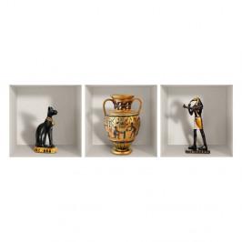 Sada 3 3D samolepiek na stenu Ambiance Egyptian Statuettes