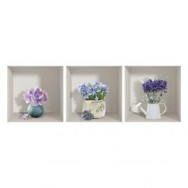 Sada 3 3D samolepiek na stenu Ambiance Purple Bouquets