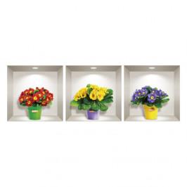 Sada 3 3D samolepiek na stenu Ambiance Field Flowers