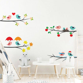 Sada detských samolepiek na stenu Ambiance Tree Branches in the Seasons