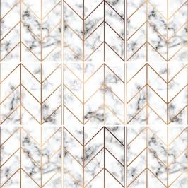 Sada 9 samolepiek na stenu Ambiance Marble and Gold Line, 15 x 15 cm