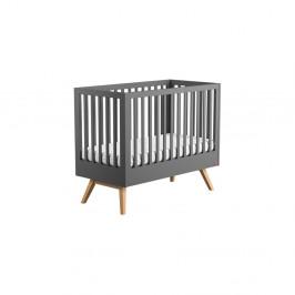 Sivá detská postieľka s odnímateľnou ohradou Vox Mitra, 140 × 70 cm