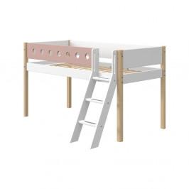Ružovo-biela detská posteľ s rebríkom a nohami z brezového dreva Flexa White, výška 120 cm
