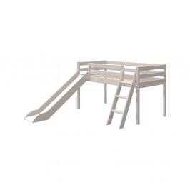 Sivá detská posteľ z borovicového dreva s rebríkom a šmýkačkou Flexa Classic, výška 120 cm