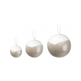 Sada 3 sivých vianočných ozdôb na stromček z kostného porcelánu Kähler Design Nobili