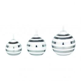 Sada 3 bielych keramických vianočných ozdôb na stromček s detailmi v striebornej farbe Kähler Design Omaggio