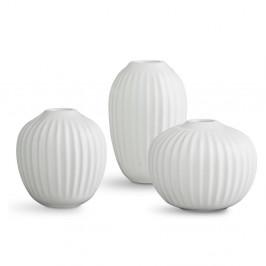 Sada 3 kameninových bielych váz Kähler Design Hammershoi Miniature