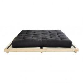 Dvojlôžková posteľ z borovicového dreva s matracom a tatami Karup Design Dock Comfort Mat Natural Clear/Black, 160 × 200 cm