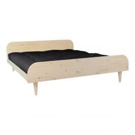 Dvojlôžková posteľ z borovicového dreva s matracom Karup Design Twist Double Latex Natural/Black, 160 × 200 cm