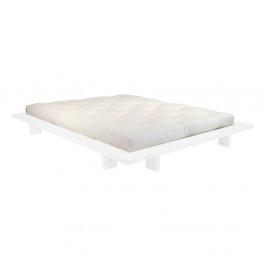 Dvojlôžková posteľ z borovicového dreva s matracom Karup Design Japan Comfort Mat White/Natural, 160 × 200 cm