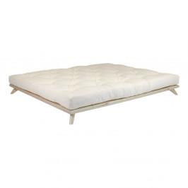Dvojlôžková posteľ z borovicového dreva s matracom Karup Design Senza Double Latex Natural Clear/Natural, 140 × 200 cm