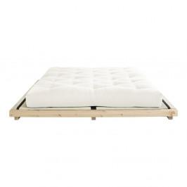 Dvojlôžková posteľ z borovicového dreva s matracom a tatami Karup Design Dock Comfort Mat Natural/Natural, 160 × 200 cm