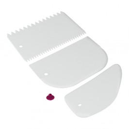 Sada 3 bielych plastových stierok Metaltex
