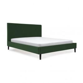 Tmavozelená posteľ s čiernymi nohami Vivonita Kent, 140 × 200 cm