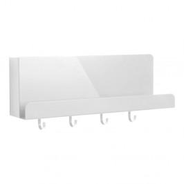 Biely kovový nástenný organizér s háčikmi Leitmotiv Perky, dĺžka 46 cm