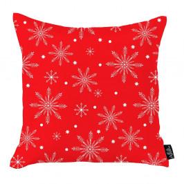 Červená vianočná obliečka na vankúš Apolena Honey Christmas Snowflakes, 45 x 45 cm