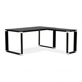 Čierny pracovný rohový stôl s drevenou doskou Kokoon Warner