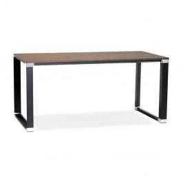 Čierny pracovný stôl s doskou v dekóre orechového dreva Kokoon Warner
