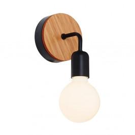 Čierne nástenné svietidlo s dreveným detailom Valetta