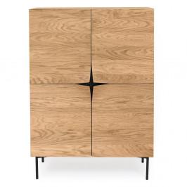 Hnedý príborník z dubového dreva Woodman Flop, 100 x 140 cm