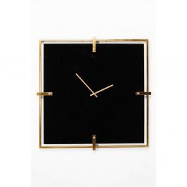 Čierne nástenné hodiny s rámom v zlatej farbe Kare Design Black Mamba